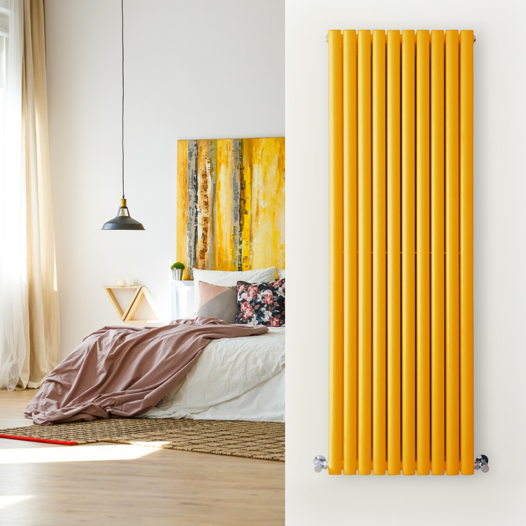 yellow vertical radiator in a yellow bedroom