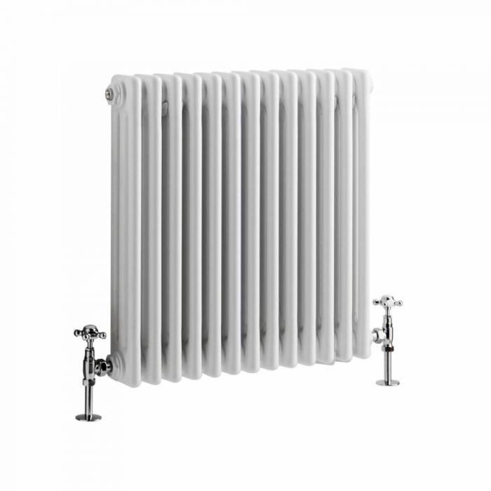 Milano Windsor - Horizontal Triple Column White Traditional Cast Iron Style Radiator - 600mm x 605mm cut out