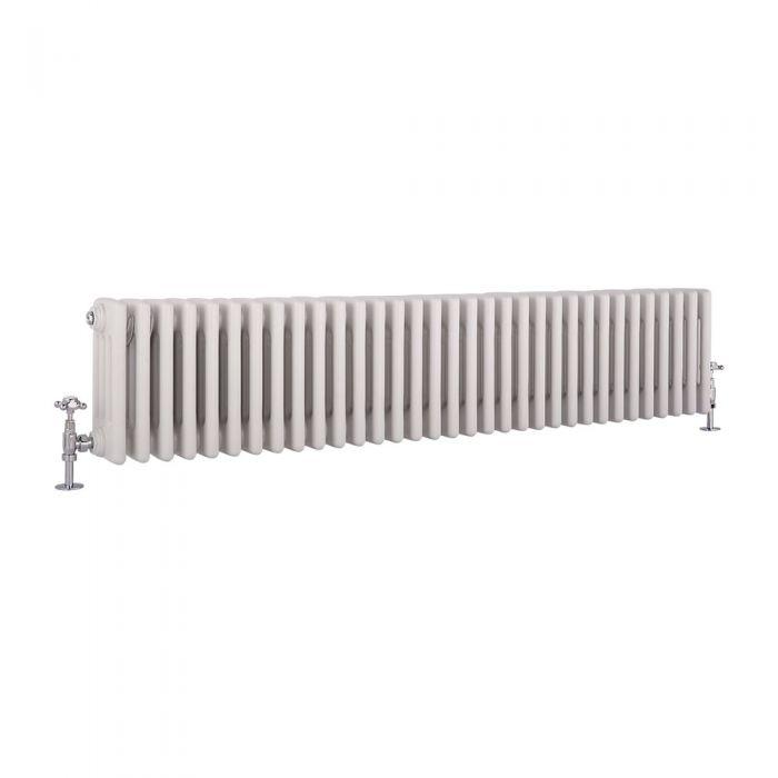 Milano Windsor - Horizontal Four Column White Traditional Cast Iron Style Radiator - 300mm x 1505mm
