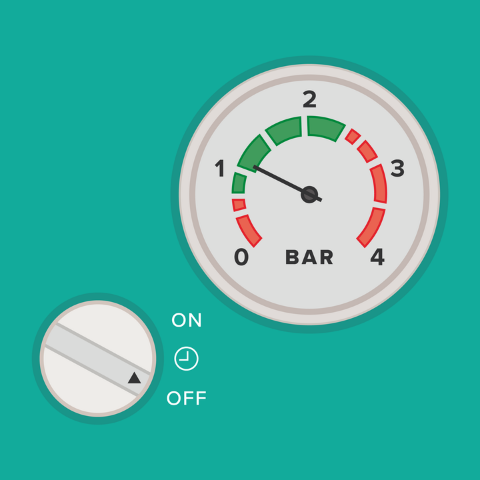 boiler pressure gauge when the heating is off