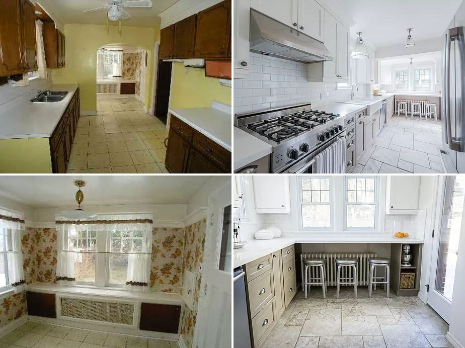 before and after shots of the zamaria kitchen