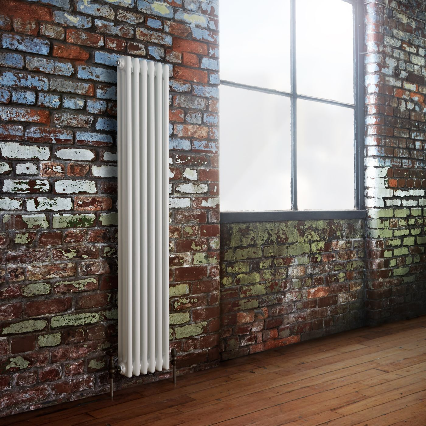 Milano windsor vertical radiator on a brick wall background