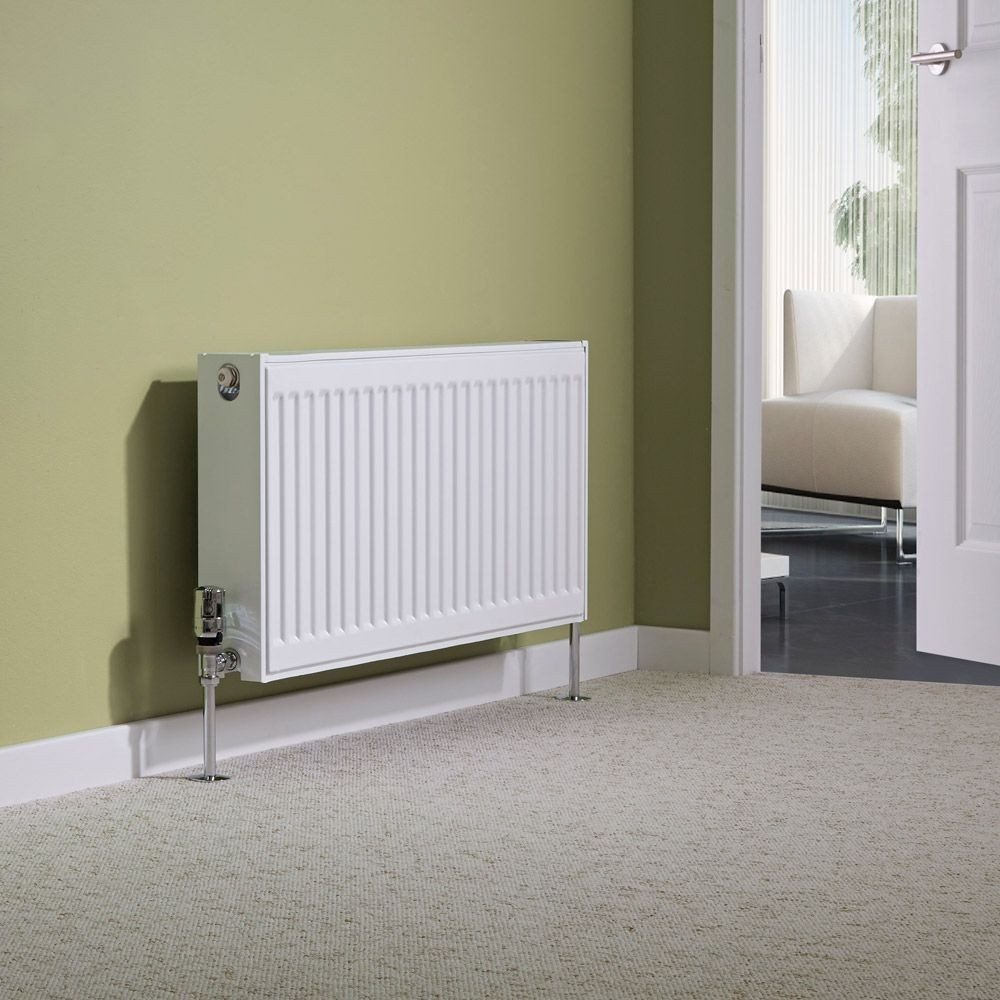 White Milano Double Convector Radiator on a green background in a lounge or hallway