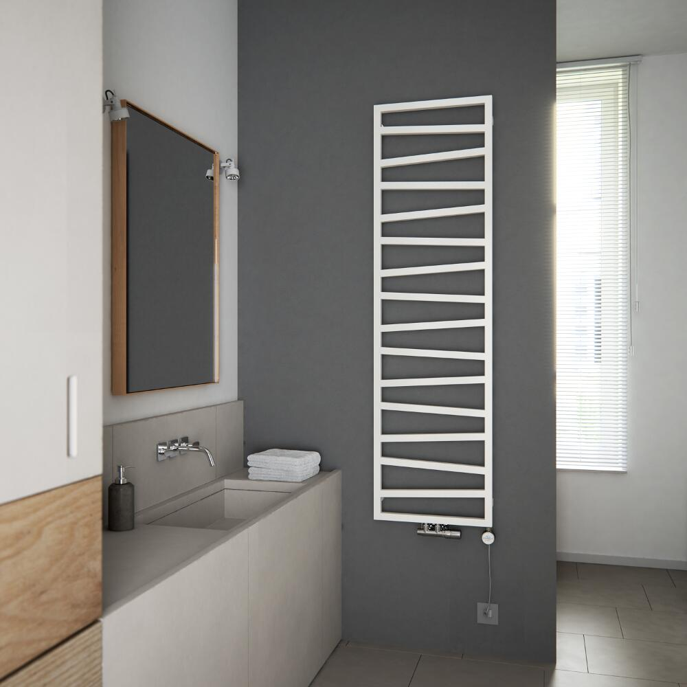 Terma ZigZag heated towel rail on a wall in a room