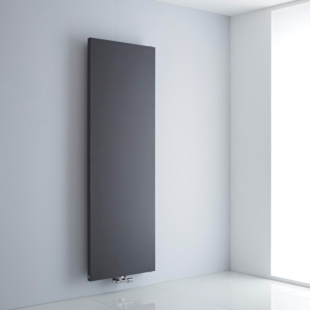 grey flat panel radiator on a white background