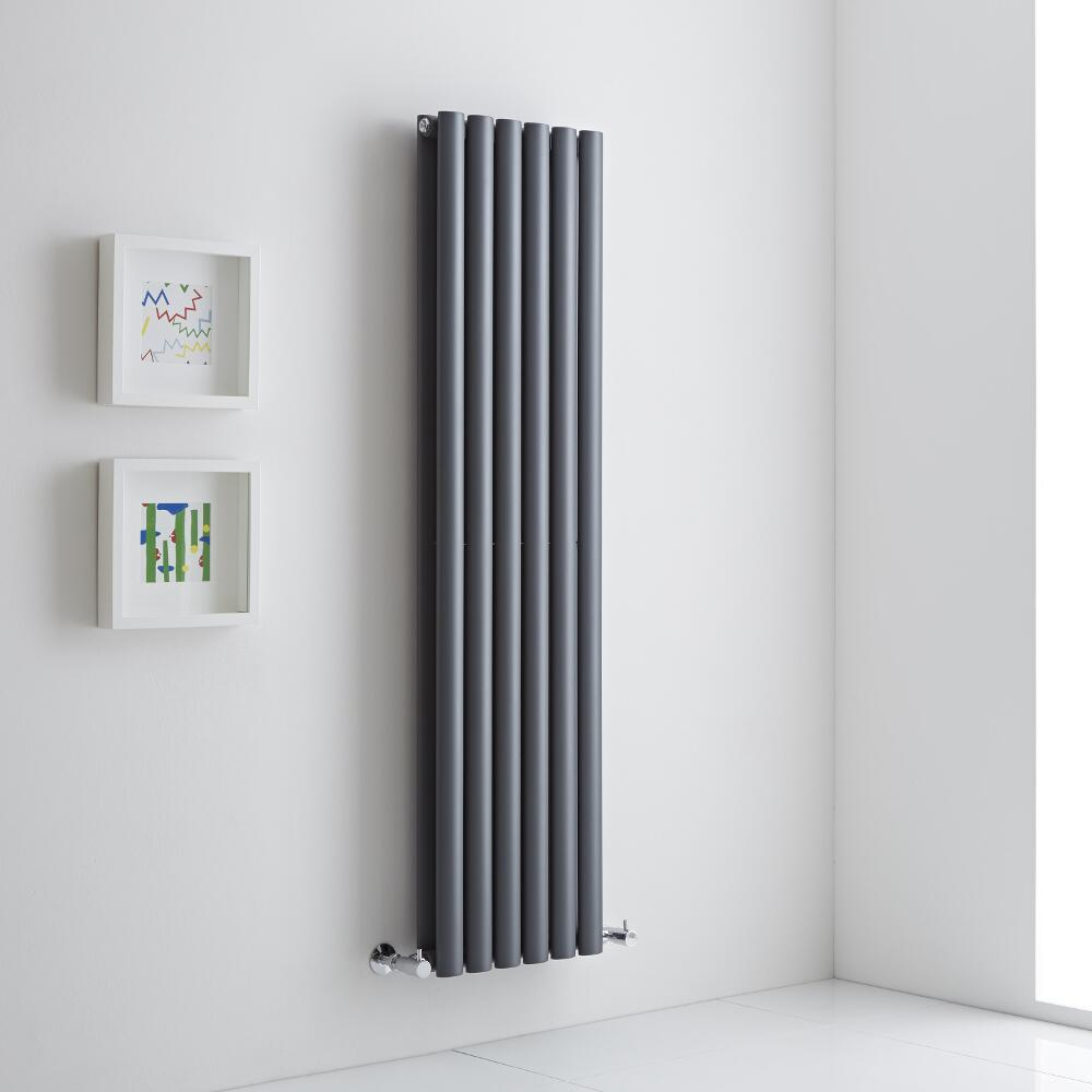 grey radiator on a white wall lifestyle image