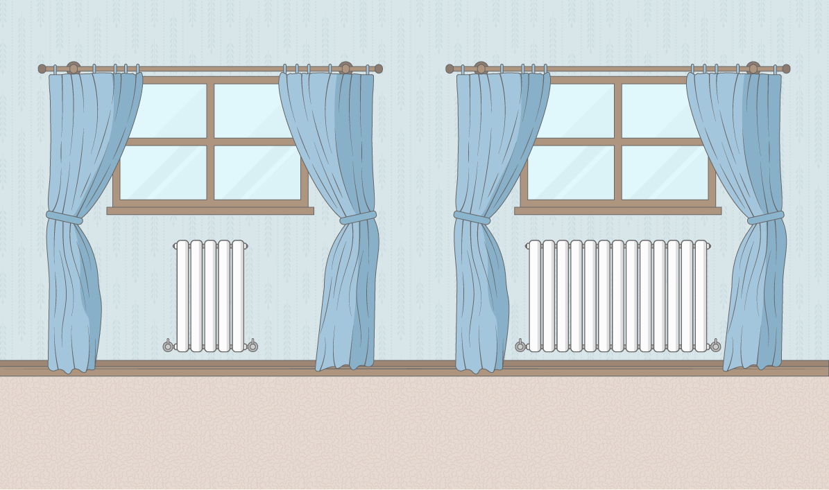 image of a small radiator and a larger radiator under a window