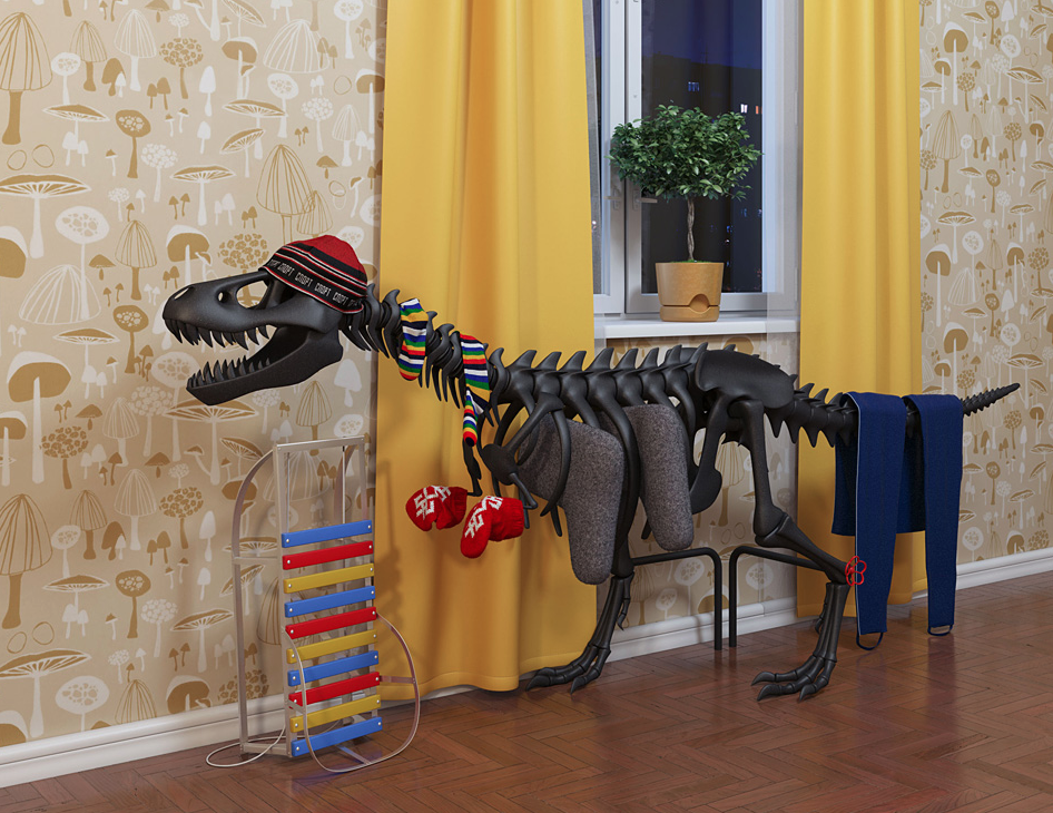 A radiator shaped like a dinosaur wearing a hat and playing a xylophone