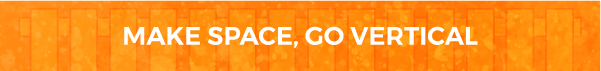 Make Space, Go Vertical Blog Banner in orange with white writing