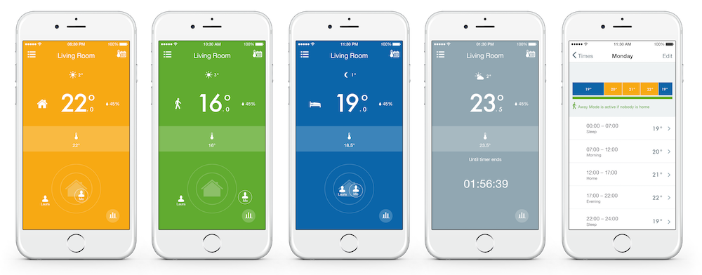 five separate mobile phones showing the settings for tado in different rooms of the home