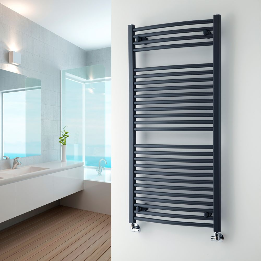 An Anthracite Milano Brook On A White Wall IN A Bathroom