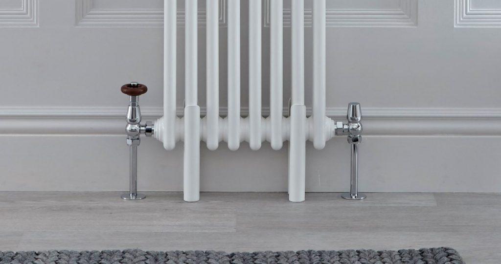 Radiator feet on a white traditional column radiator