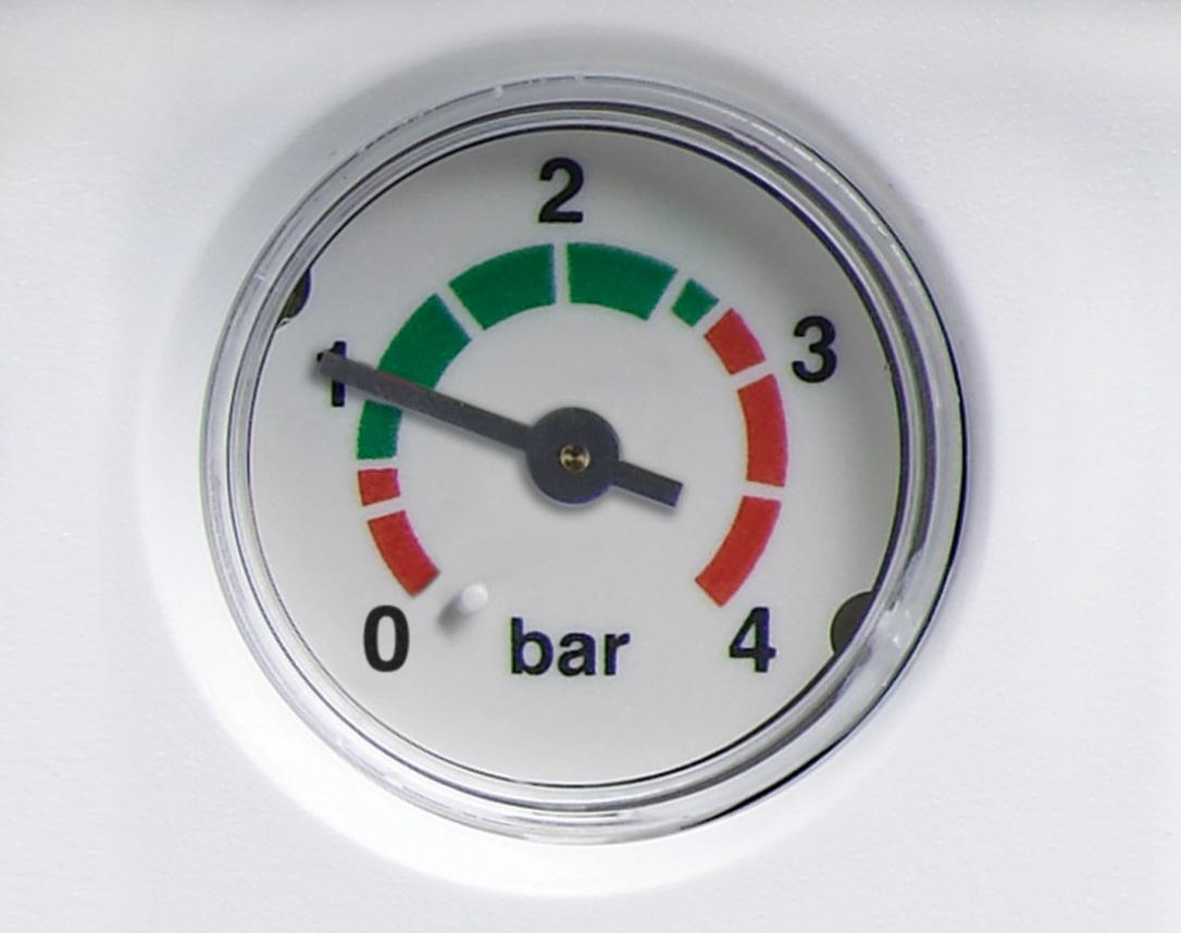 image of a pressure gauge on a combination boiler showing low pressure in the heating system