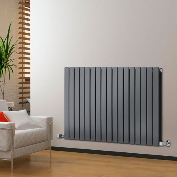 anthracite radiator on cream wall