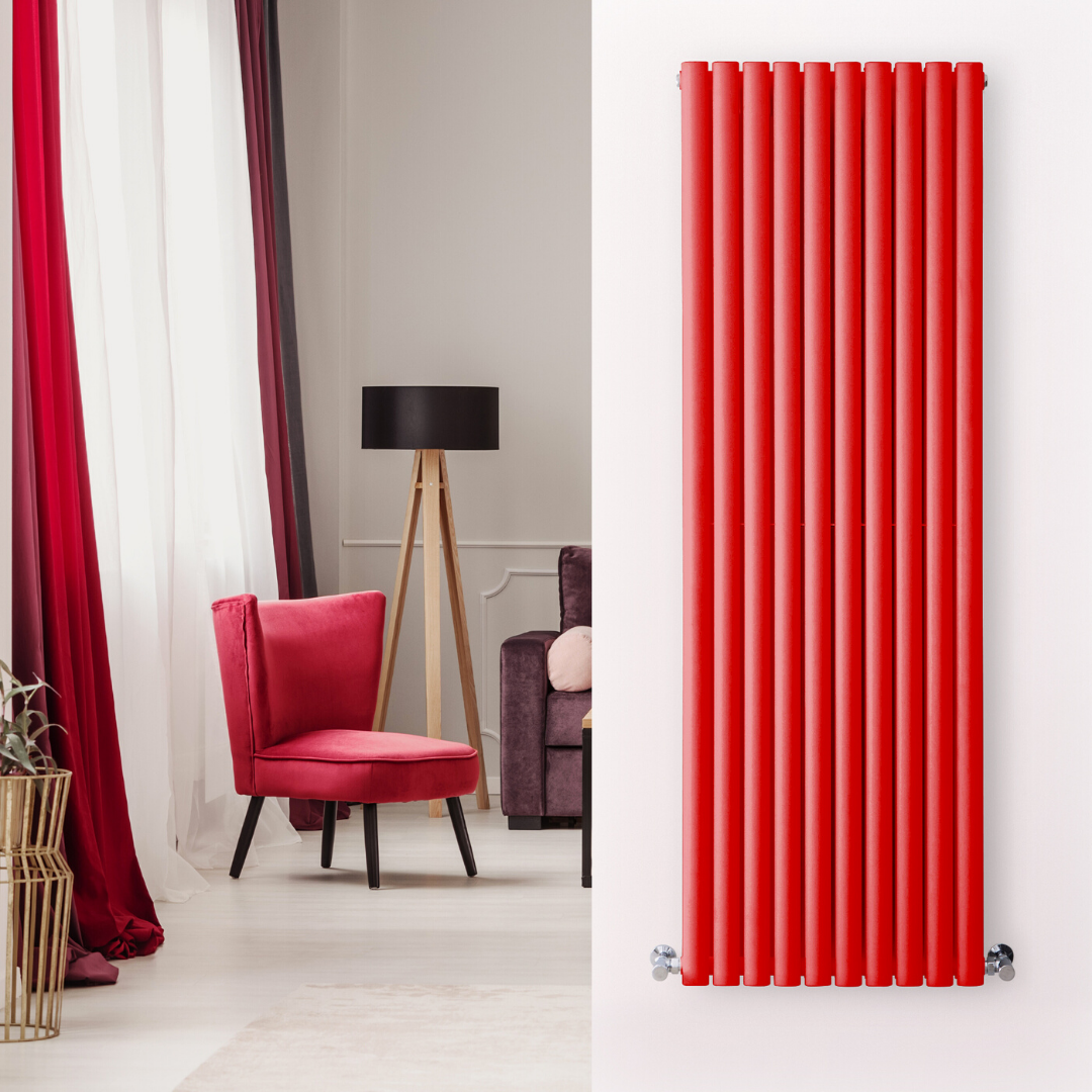 red vertical radiator next to a red chair