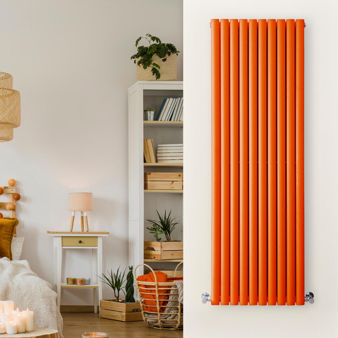 vertical orange radiator in a white bedroom