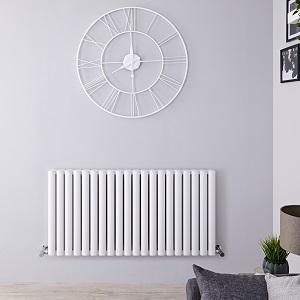 White horizontal milano aruba designer radiator in a grey room