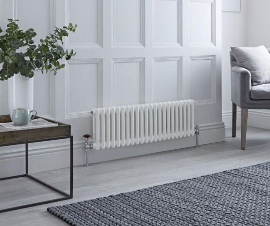 low level milano windsor radiator on a white wall