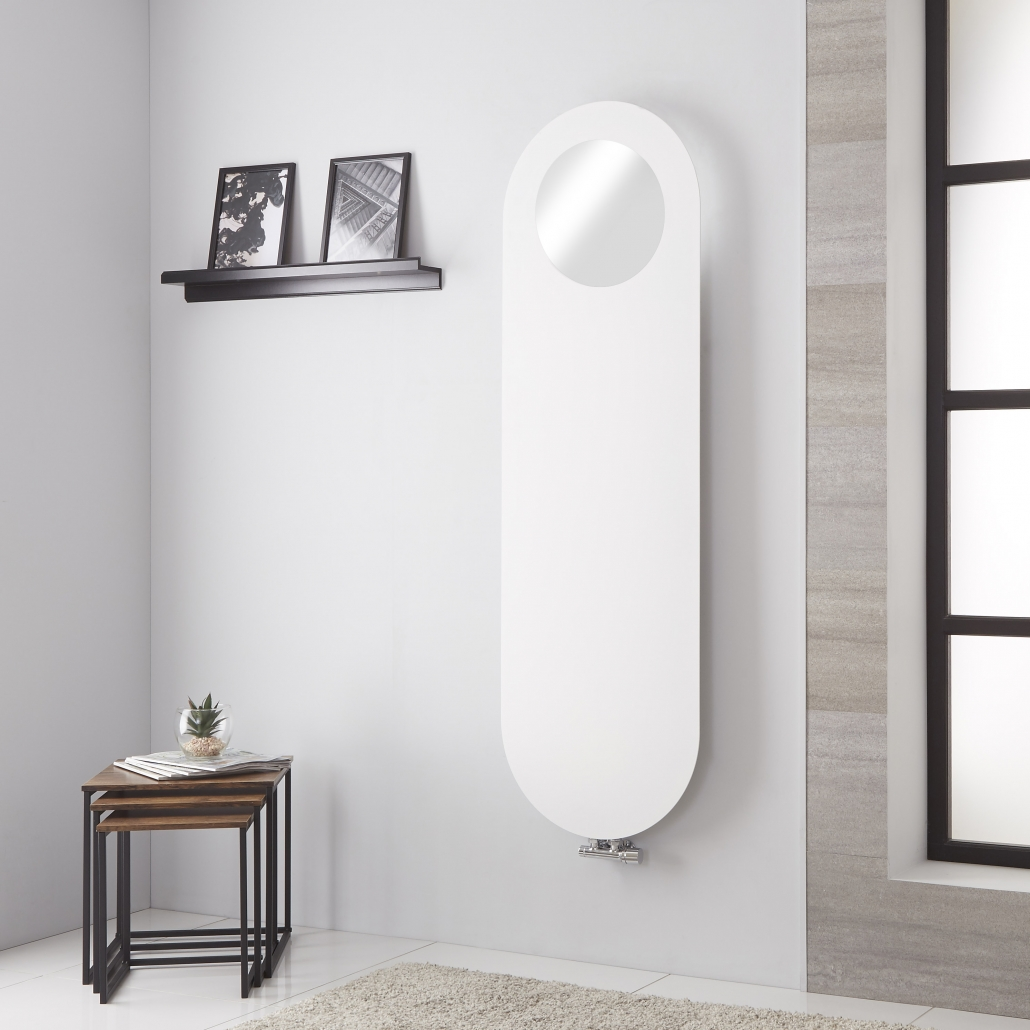 Lazzarini Way - Vulcano - Mineral White Vertical Designer Radiator with mirror on a grey wall