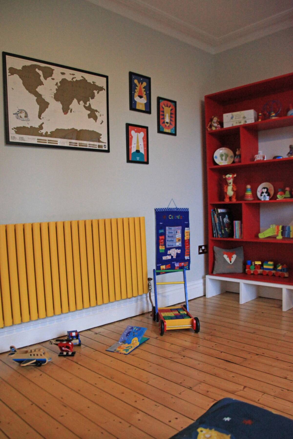 yellow radiator in a playroom