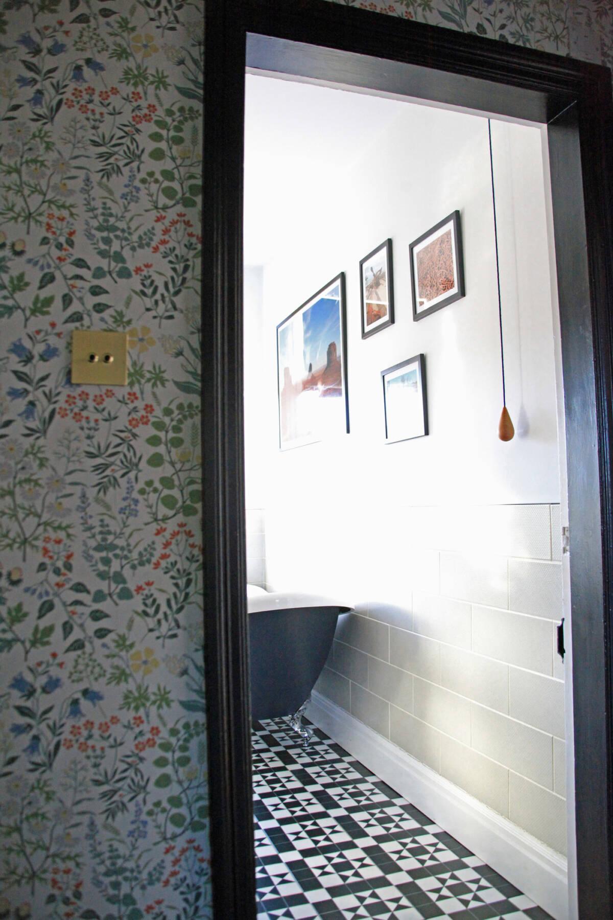 open door leading in to a bathroom