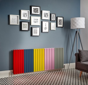 a multicoloured radiator on a wall in a lounge