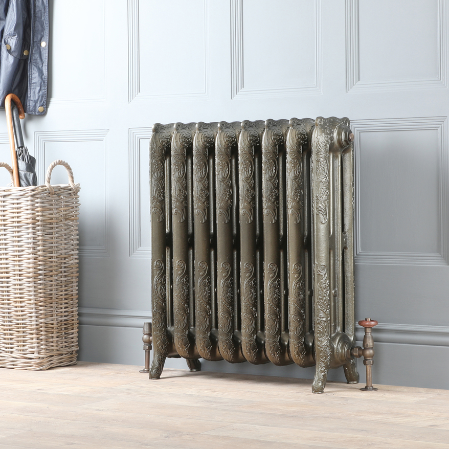Milano Beatrix antrique brass cast-iron radiator.