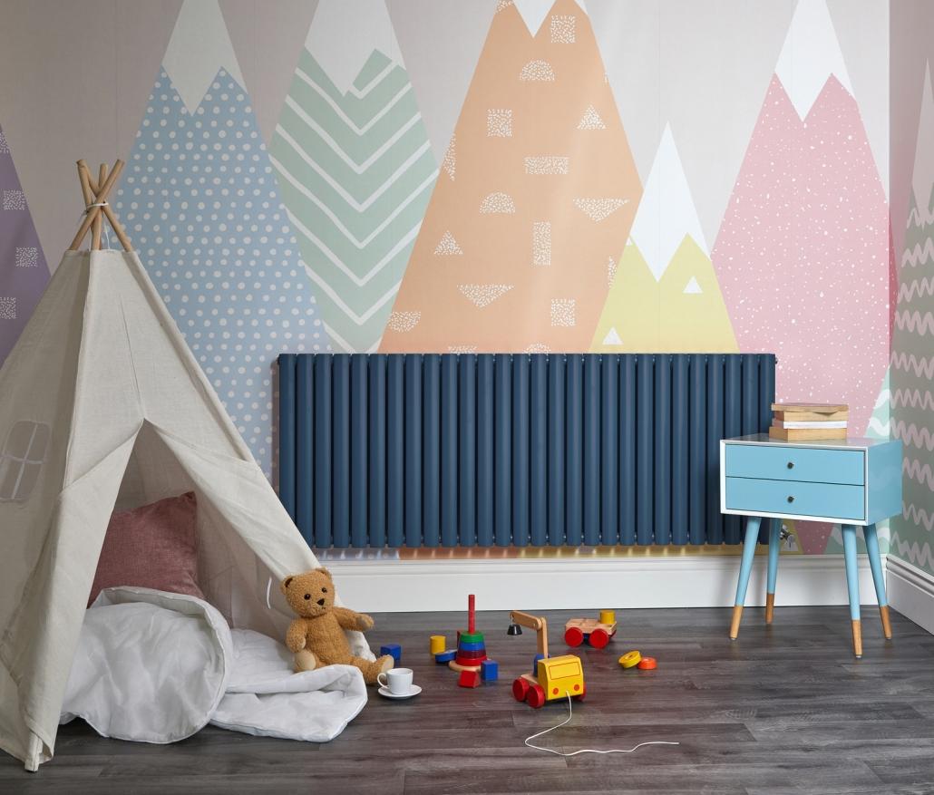 Navy blue Milano Aruba designer radiator in a playroom