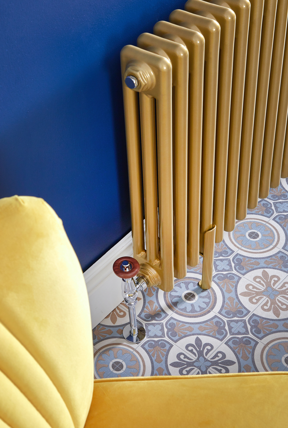 side of a gold Milano Windsor radiator