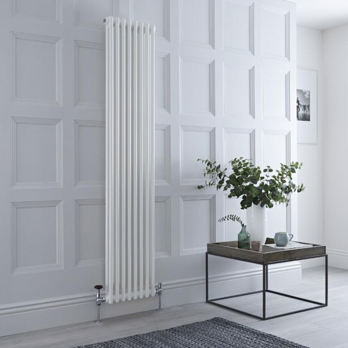 Milano Windsor vertical white column radiator.
