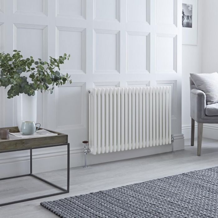 Milano Windsor white column radiator on a white wall.