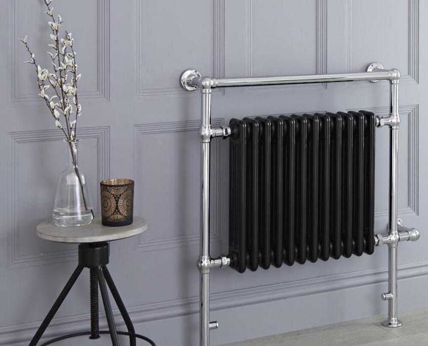 elizabeth black heated towel rail