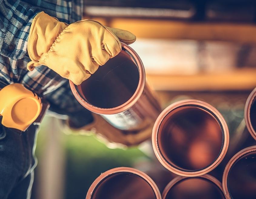 Sanitary plastic pipes handled