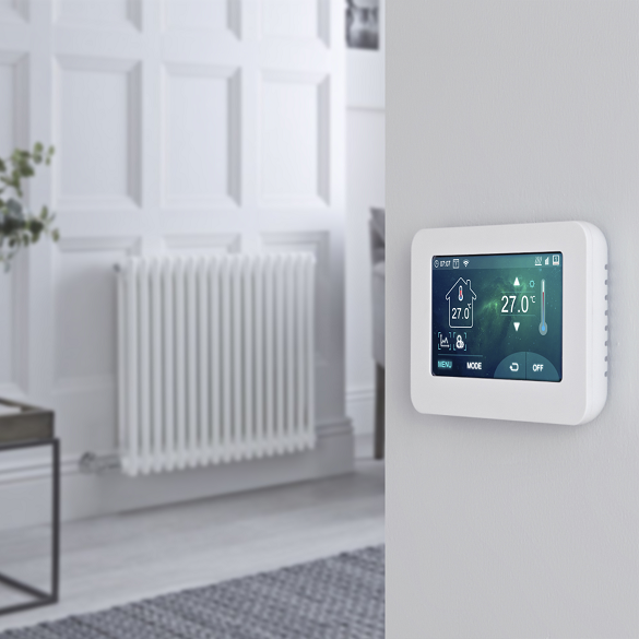 Milano connect wifi heating on a wall with a radiator in the background