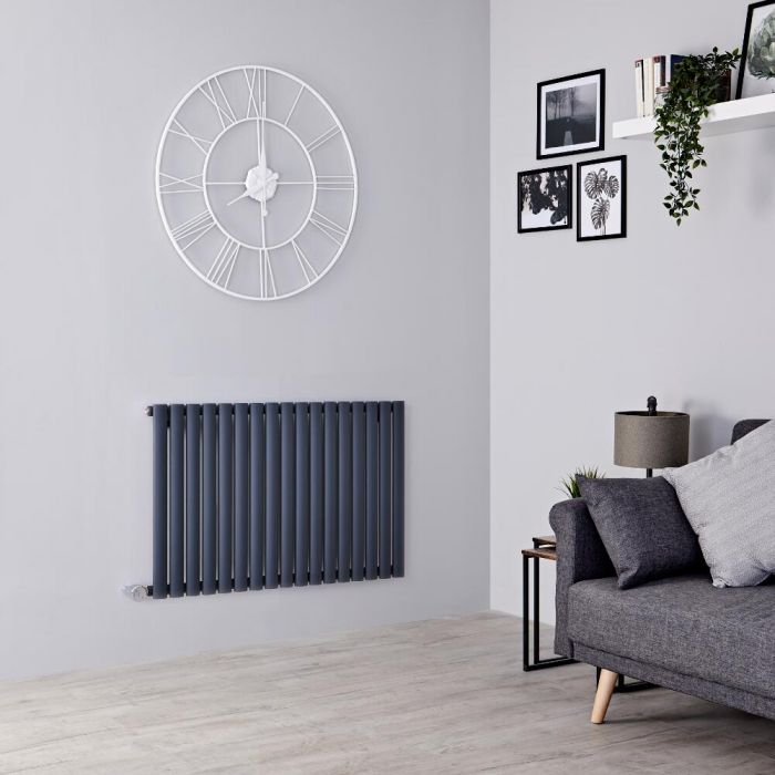 Milano Aruba electric radiartor on a grey wall