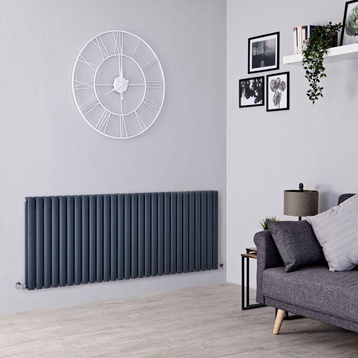 28 panel Milano Aruba anthracite radiator on a grey wall