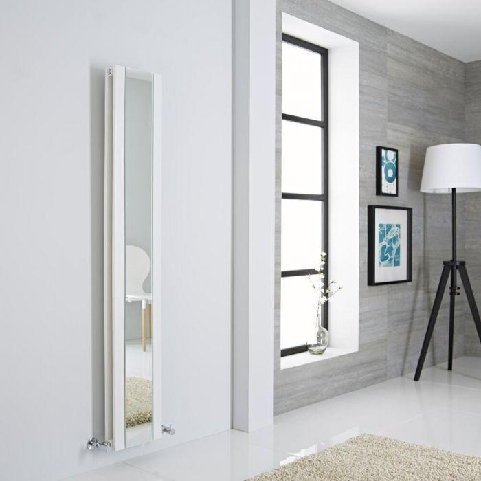 Milano Icon white radiator on a grey wall next to a window