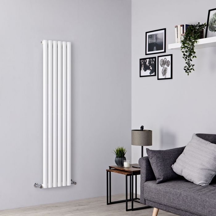 narrow vertical radiator in a small living room