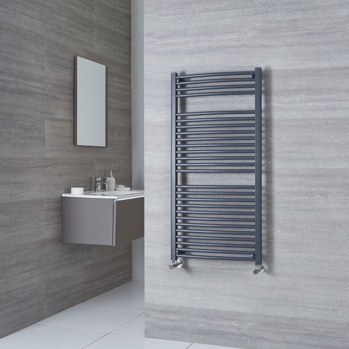 Milano Brook heated towel rail in a grey bathroom.