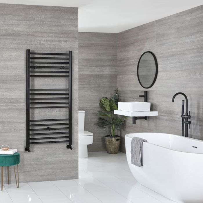 Milano Nero black heated towel rail in a bathroom