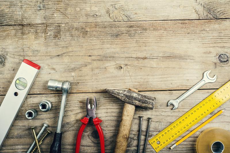 work tools on the floor