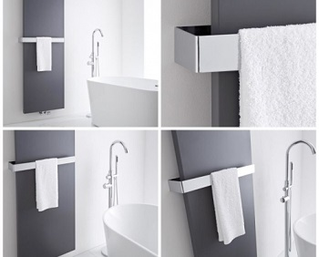 4 images in one showing a radiator with a towel rail