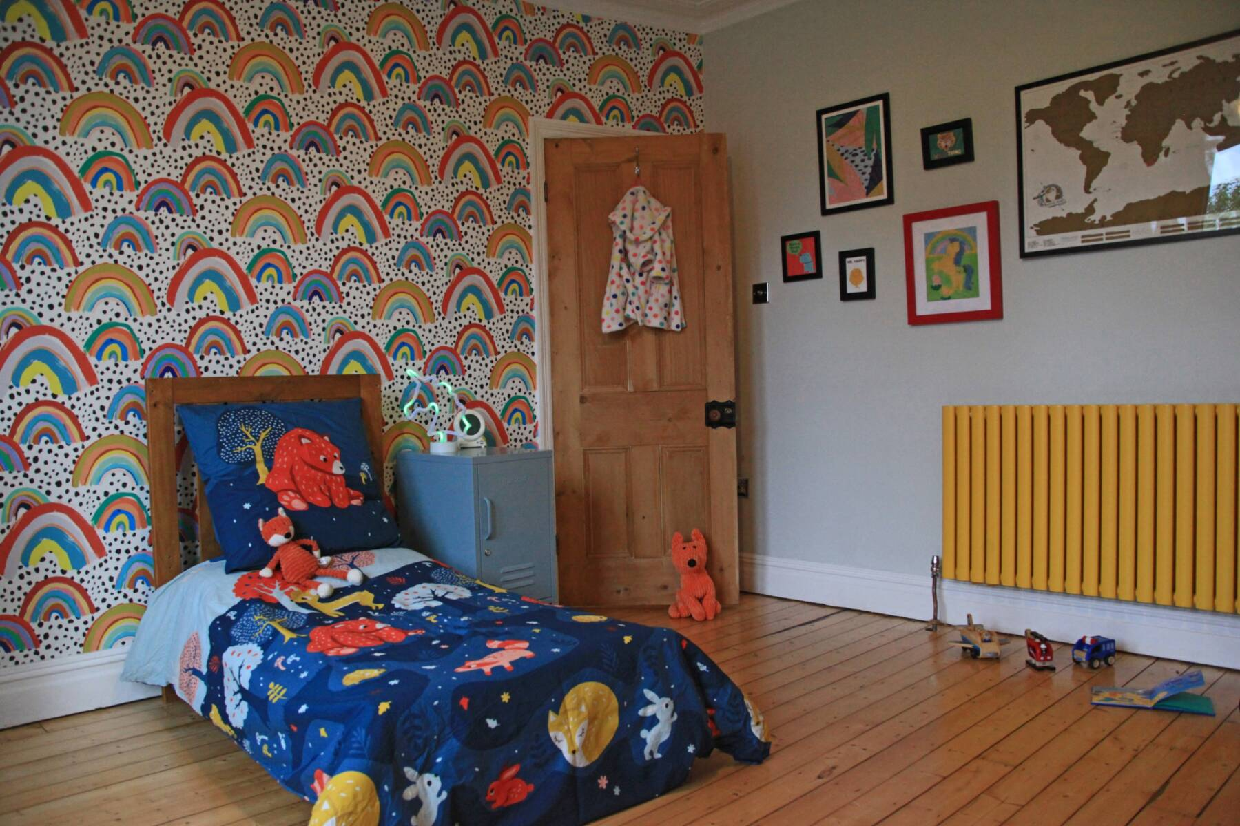 yellow radiator in a children's bedroom