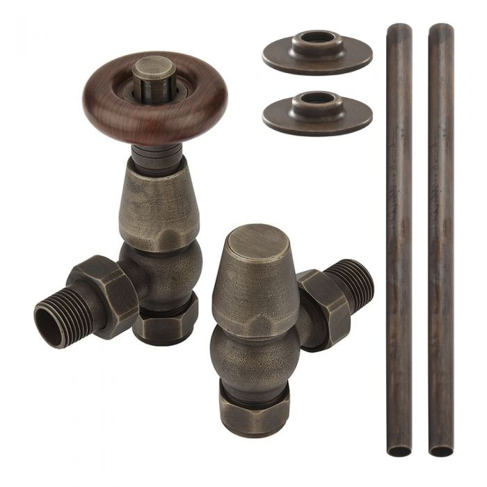 Milano Windsor - Traditional Thermostatic Angled Radiator Valve and Pipe Set Aged Bronze cut out